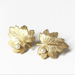 Sarah Coventry Gold Whispering Leaves Earrings